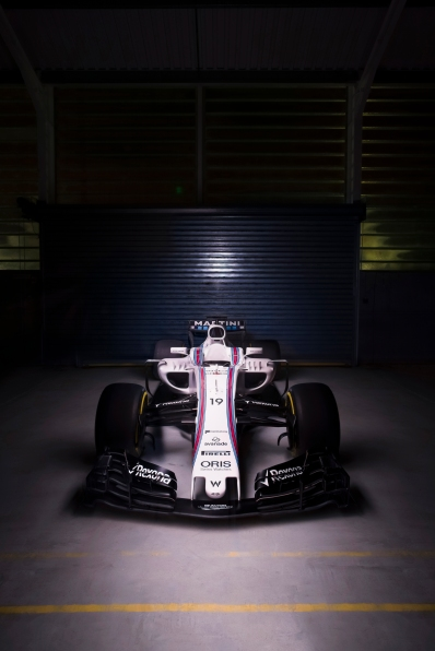 Williams Martini Racing FW40 Mercedes Launch. Grove, Oxfordshire, United Kingdom. February, 2017. The Williams FW40 Mercedes pre-test photo shoot. Photo: Drew Gibson/Williams Ref: FW40 front - 19