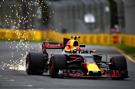 MELBOURNE, AUSTRALIA - MARCH 24: Sparks fly behind Max Verstappen of the Netherlands driving the (33) Red Bull Racing Red Bull-TAG Heuer RB13 TAG Heuer on track during practice for the Australian Formula One Grand Prix at Albert Park on March 24, 2017 in Melbourne, Australia. (Photo by Clive Mason/Getty Images)