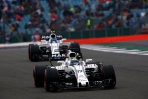 Silverstone, Northamptonshire, UK. Saturday 15 July 2017. Felipe Massa, Williams FW40 Mercedes, leads Lance Stroll, Williams FW40 Mercedes. Photo: Andrew Hone/Williams ref: Digital Image _ONY6942